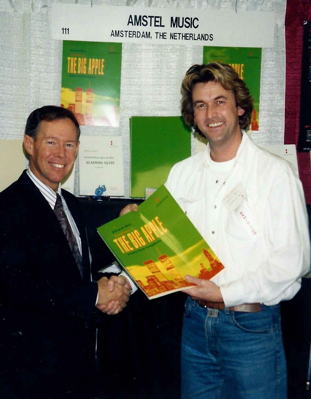 Presenting the published score to Alan Bonner, at the Midwest Band Clinic in Chicago, December 1994