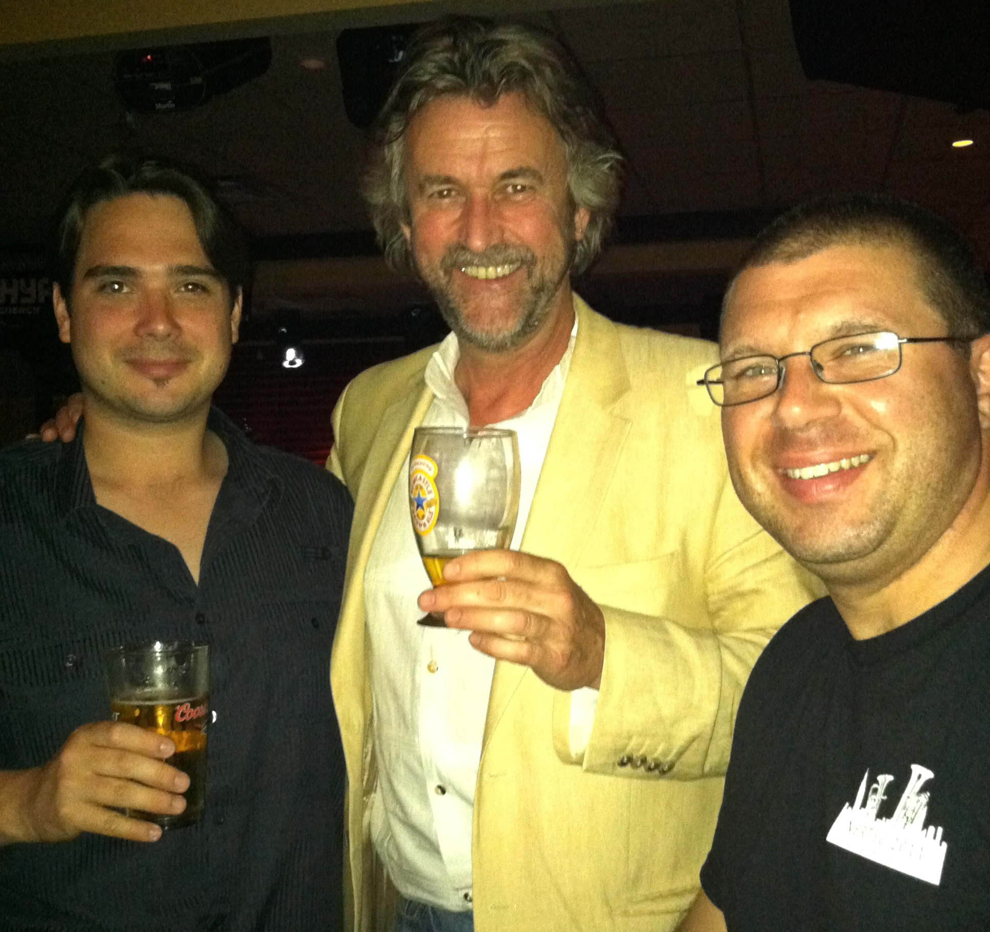 Having a toast with the two soloists, David Childs (left) and Jason Ham. May 2011