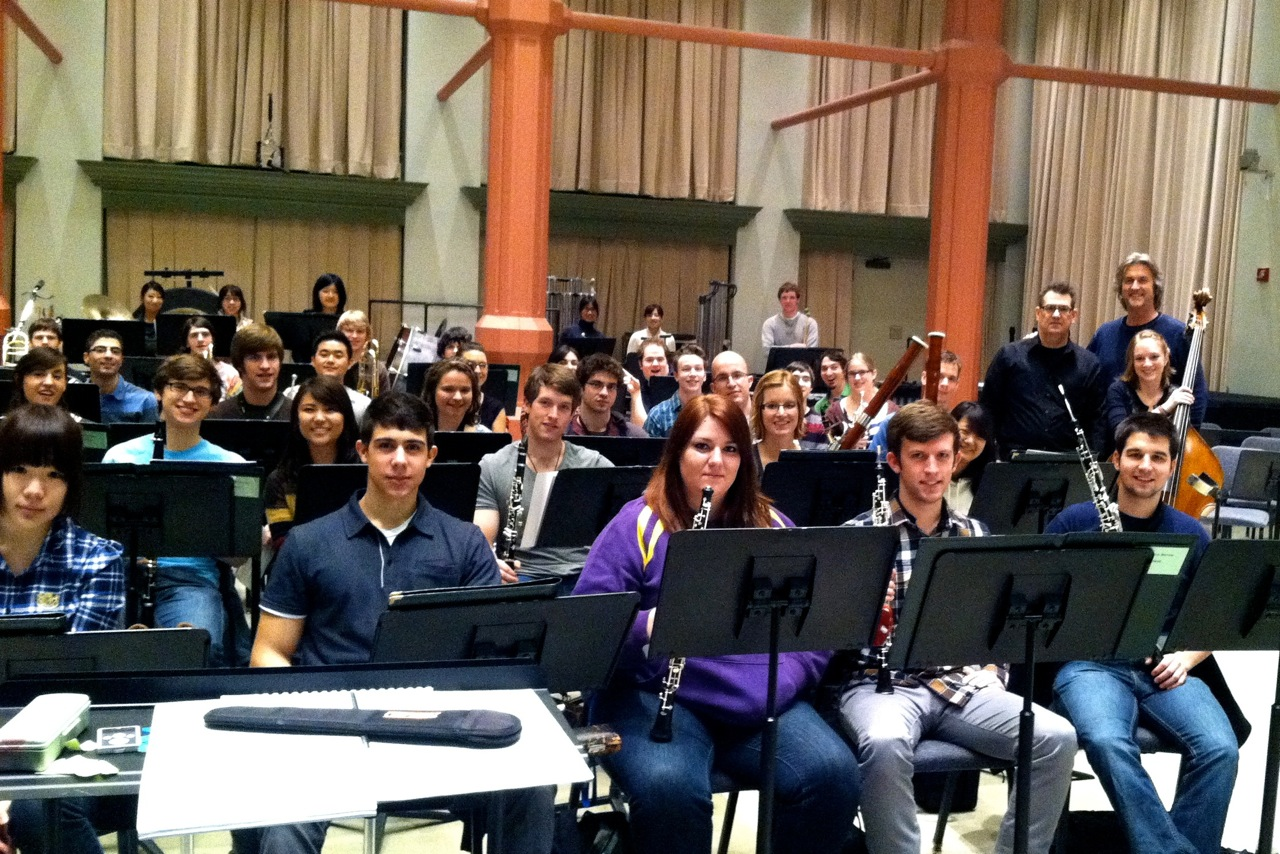 Rehearsal for the world premiere with the Peabody Wind Ensemble and conductor Harlan Parker, February 7th, 2012